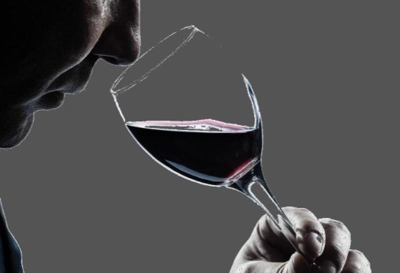 Weinprobe, Mann mit Weinglas
